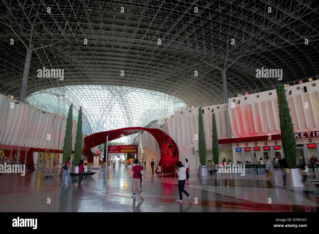 Entrance, Ferrari World, Yas Island, Abu Dhabi, United Arab Emirates, Middle East - Stock Image