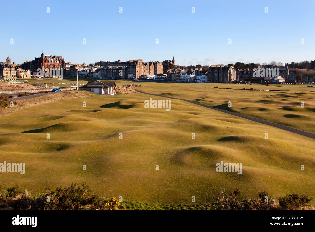 St. Andrews from the Clubhouse, Fife, Scotland, United Kingdom Stock Photo
