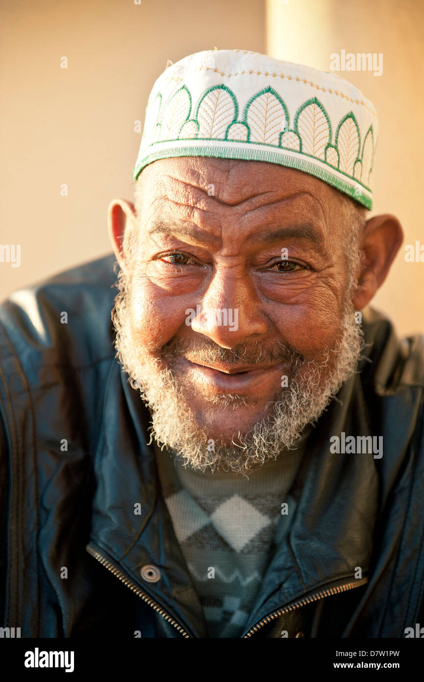 Portraits of men outside Hassan II Mosque, Casablanca, Morocco, North Africa - Stock Image