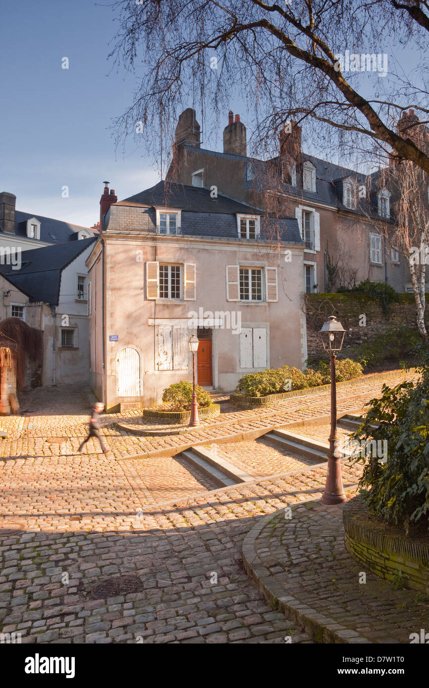 People walking through the old part of the city of Angers, Maine-et-Loire, France - Stock Image
