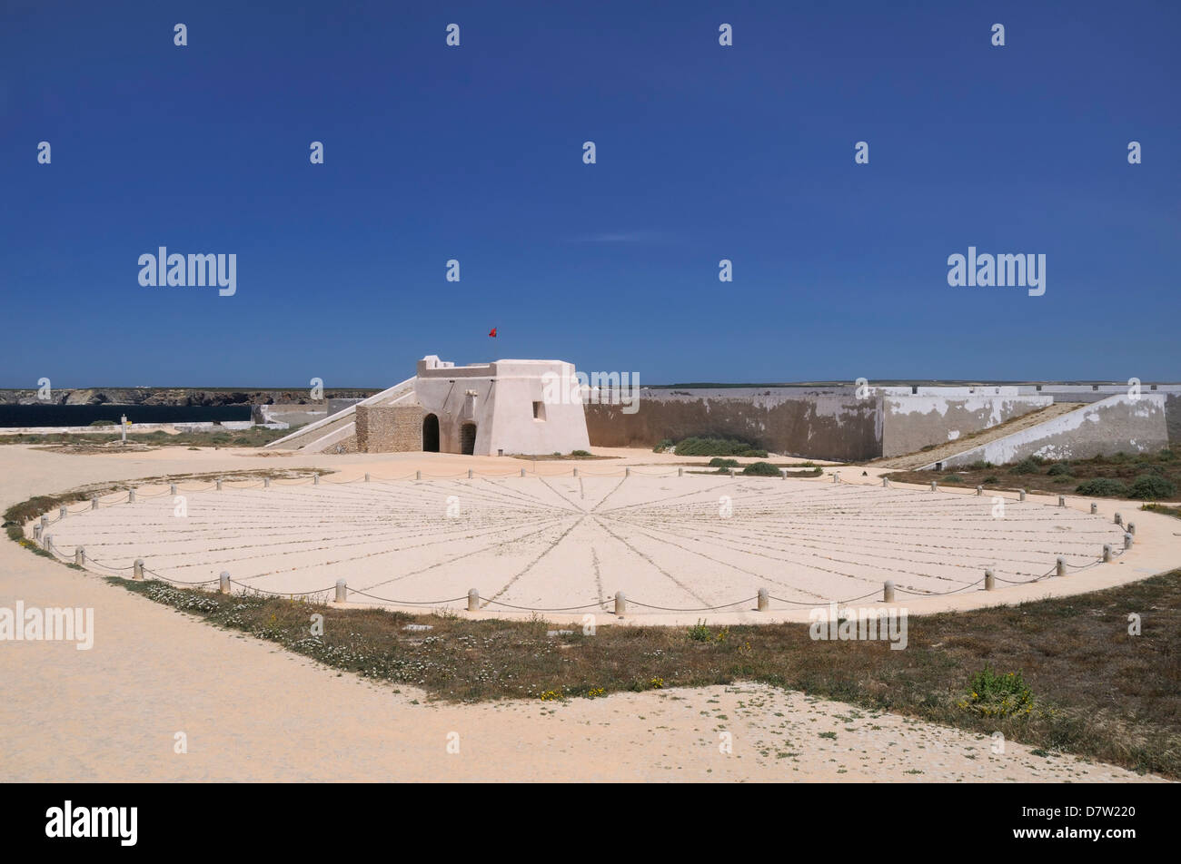 Compass Rose and entrance gateway at Sagres fort (Fortaleza de Sagres), Ponta de Sagres, Algarve, Portugal - Stock Image