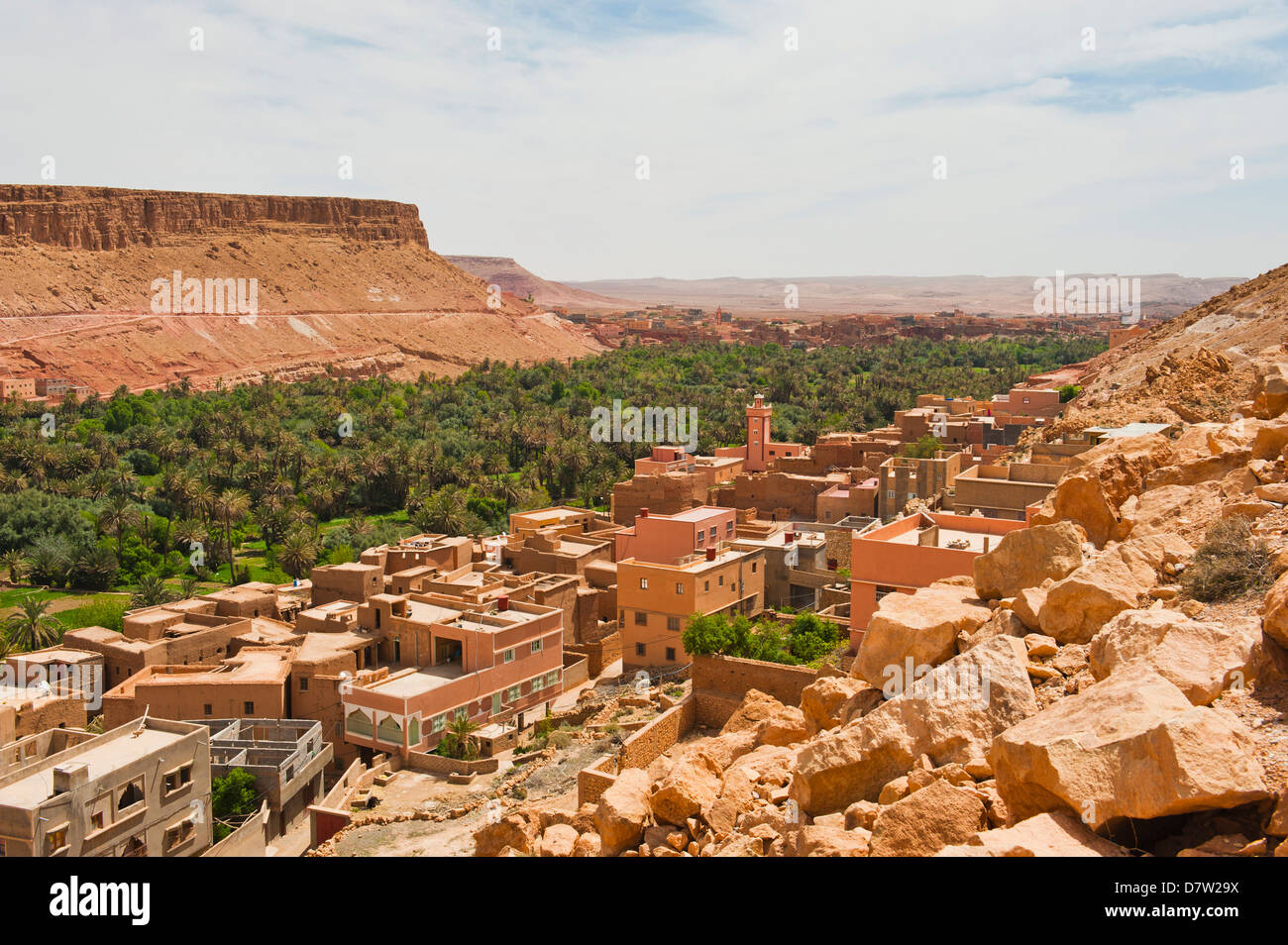 Typical remote Moroccan desert town on the road to the Todra Gorge, Morocco, North Africa - Stock Image