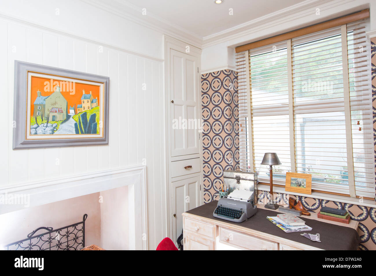 The Corner Of A Small Home Office Space With A Vintage Typewriter Stock Photo Alamy