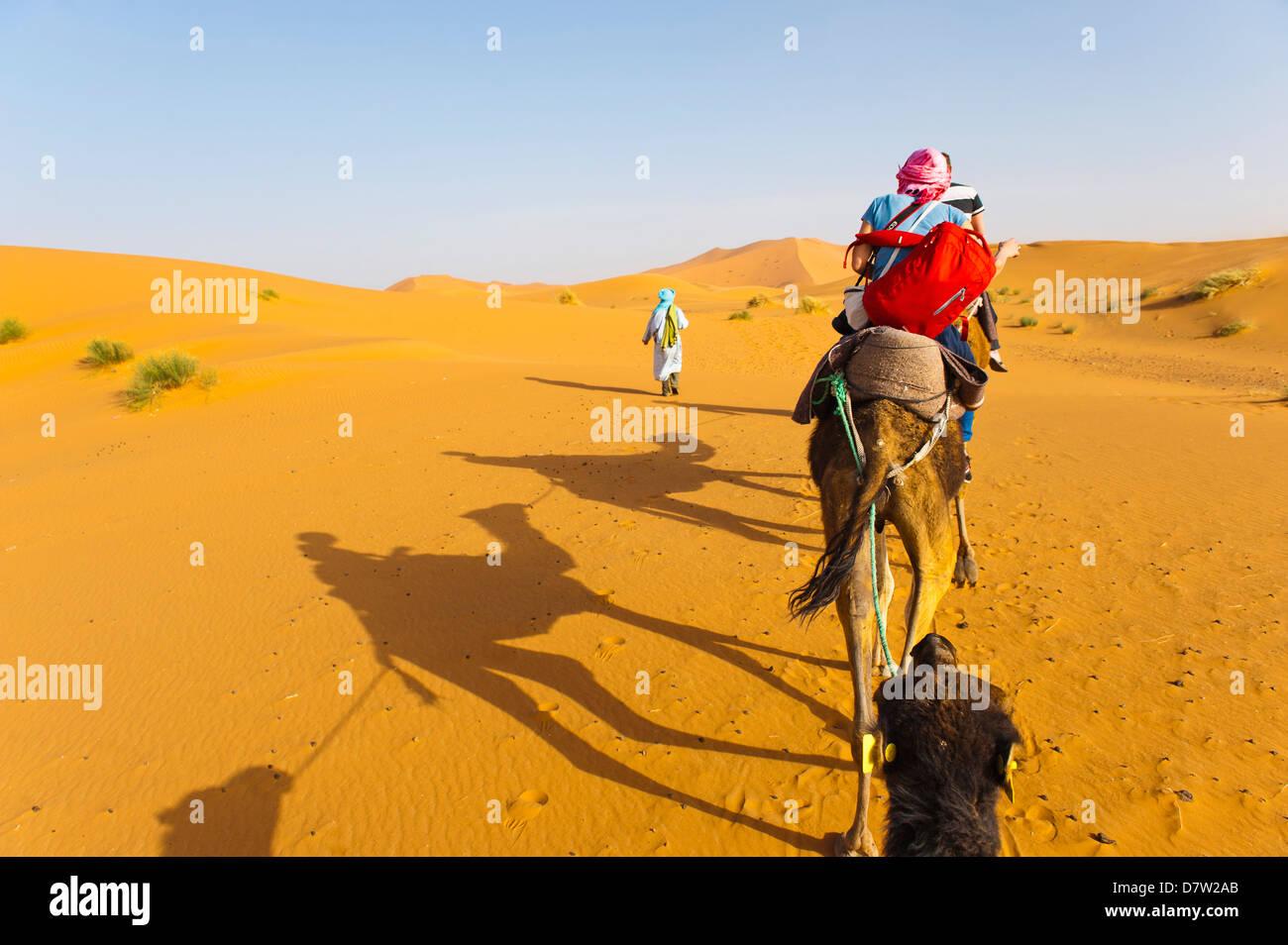 Erg Chebbi Desert, Sahara Desert near Merzouga, Morocco, North Africa - Stock Image