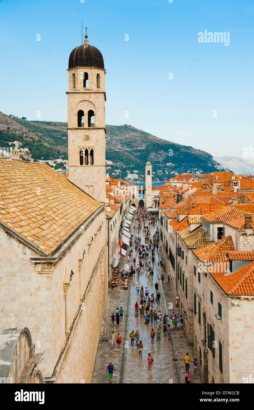 Dubrovnik Old Town, Stradun, Franciscan Monastery and City Bell Tower, UNESCO World Heritage Site, Dubrovnik, Croatia - Stock Image