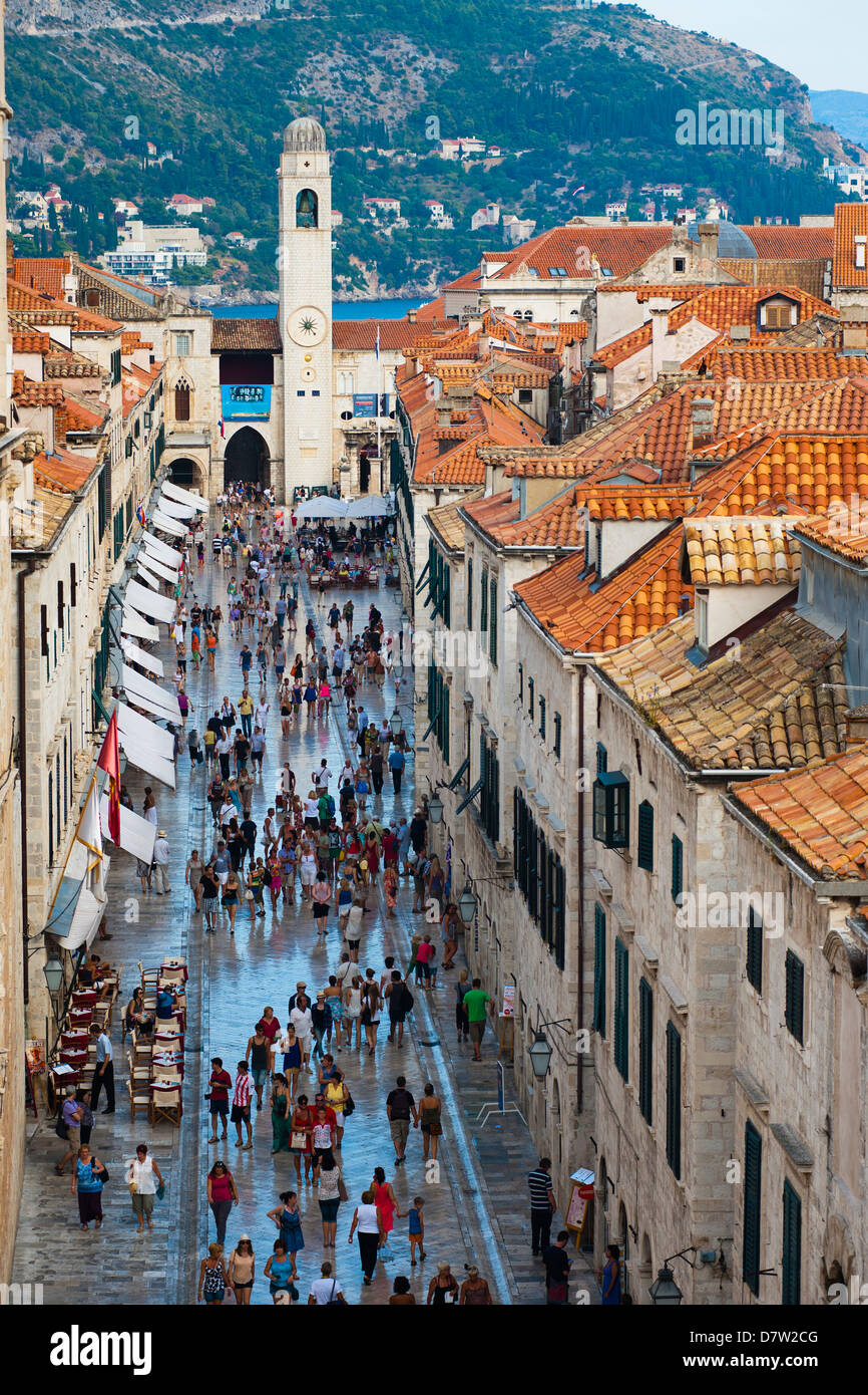 Dubrovnik City Bell Tower and Stradun, from Dubrovnik City Walls, UNESCO World Heritage Site, Dubrovnik, Croatia - Stock Image