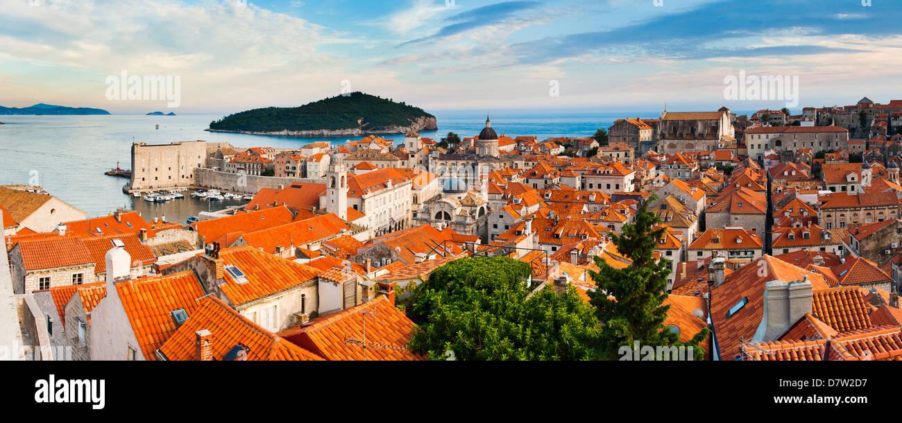 Dubrovnik Old Town and Lokrum Island from Dubrovnik City walls, Dalmatian Coast, Adriatic, Croatia - Stock Image