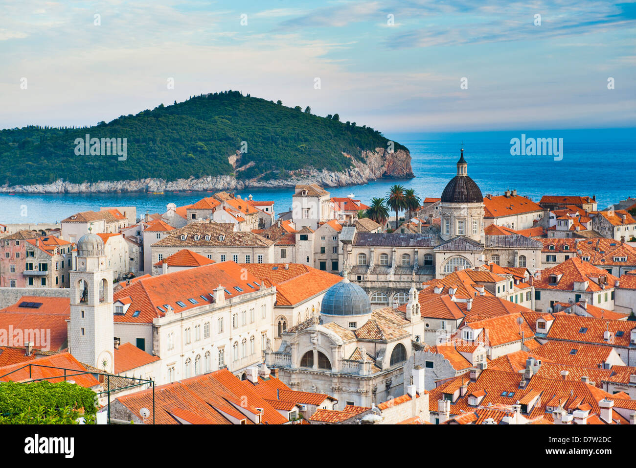 Dubrovnik Cathedral and Lokrum Island, Old Town, UNESCO World Heritage Site, Dubrovnik, Dalmatian Coast, Adriatic, - Stock Image
