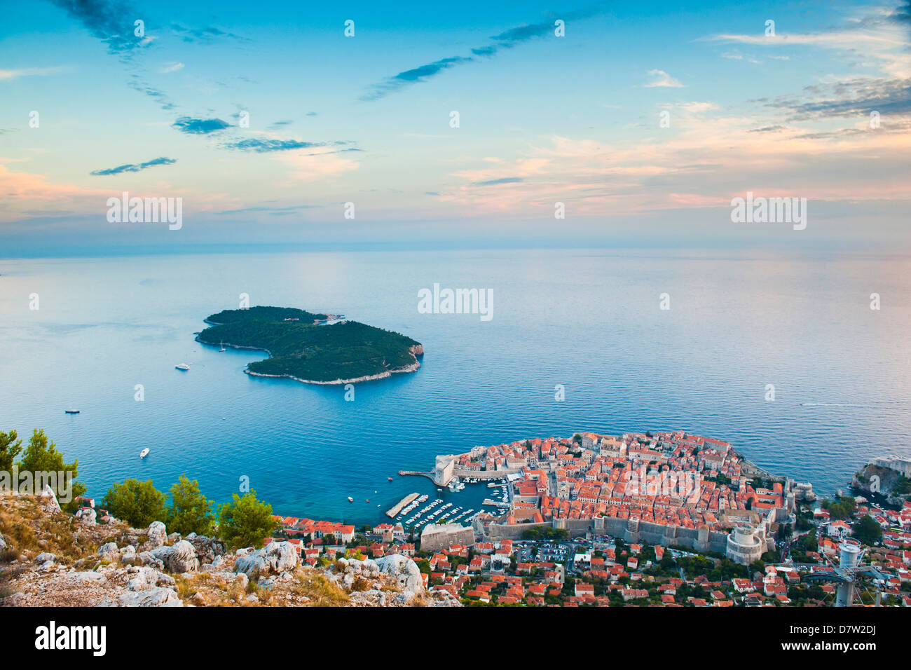 View over Dubrovnik, Lokum Island and Adriatic Sea, Dubrovnik, Dalmatian Coast, Croatia - Stock Image