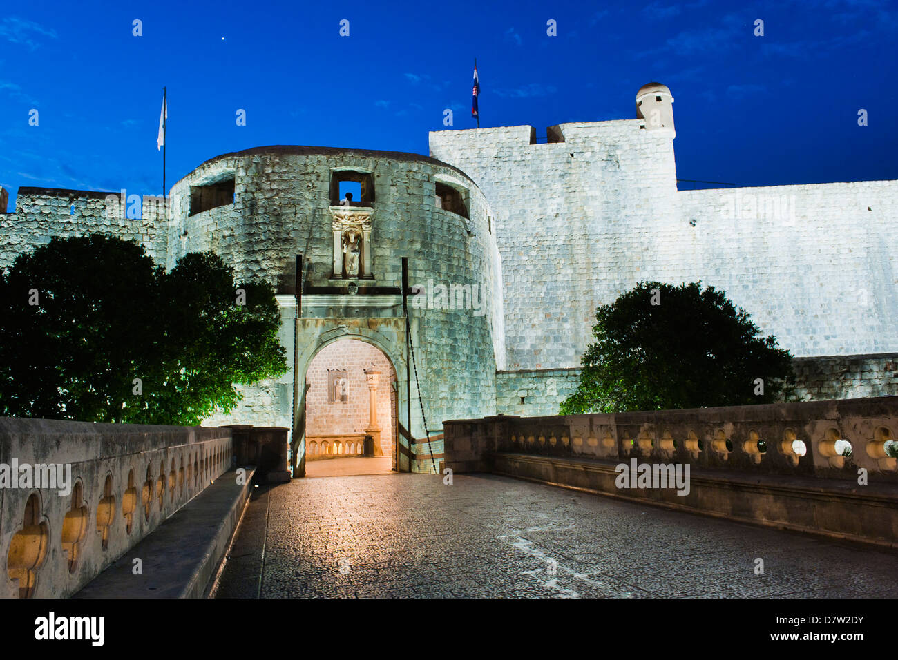 Pile Gate at night, the entrance to Dubrovnik Old Town, Dubrovnik, Croatia Stock Photo