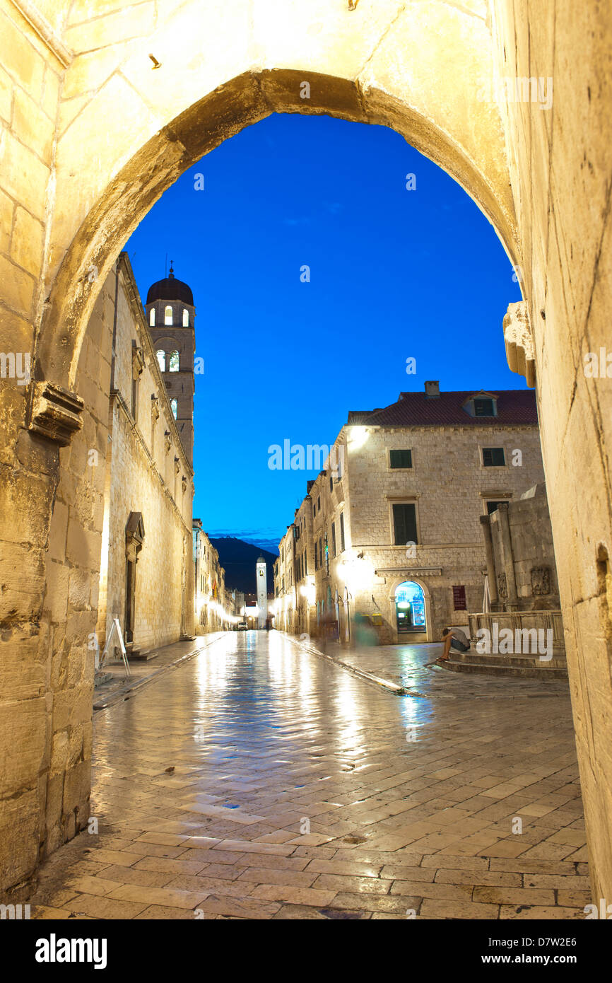 Stradun, the Franciscan Monastery and Old Town Bell Tower in Dubrovnik Old Town, UNESCO World Heritage Site, Dubrovnik, - Stock Image