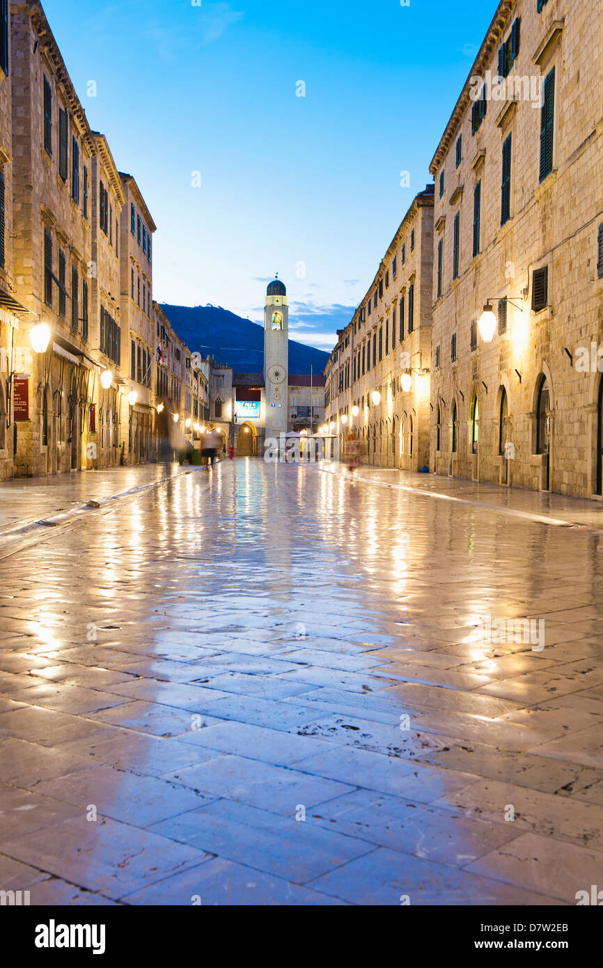 City Bell Tower on Stradun, the main street in Dubrovnik Old Town at night, UNESCO World Heritage Site, Dubrovnik, - Stock Image