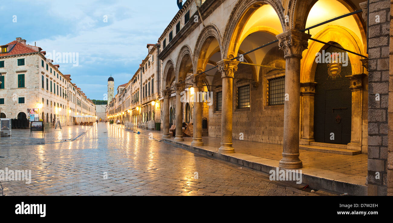 Dubrovnik Old Town, the Franciscan Monastery and Sponza Palace at night, UNESCO World Heritage Site, Dubrovnik, - Stock Image