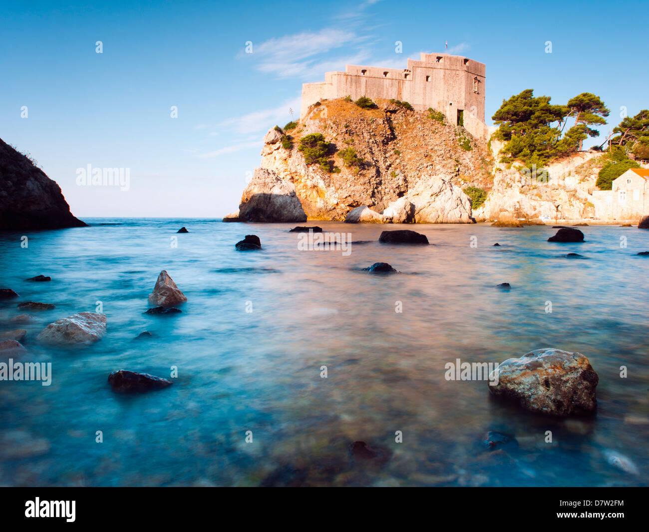 Fort Lovrijenac (St. Lawrence Fortress) at sunrise, Dubrovnik, Dalmatian Coast, Adriatic, Croatia - Stock Image