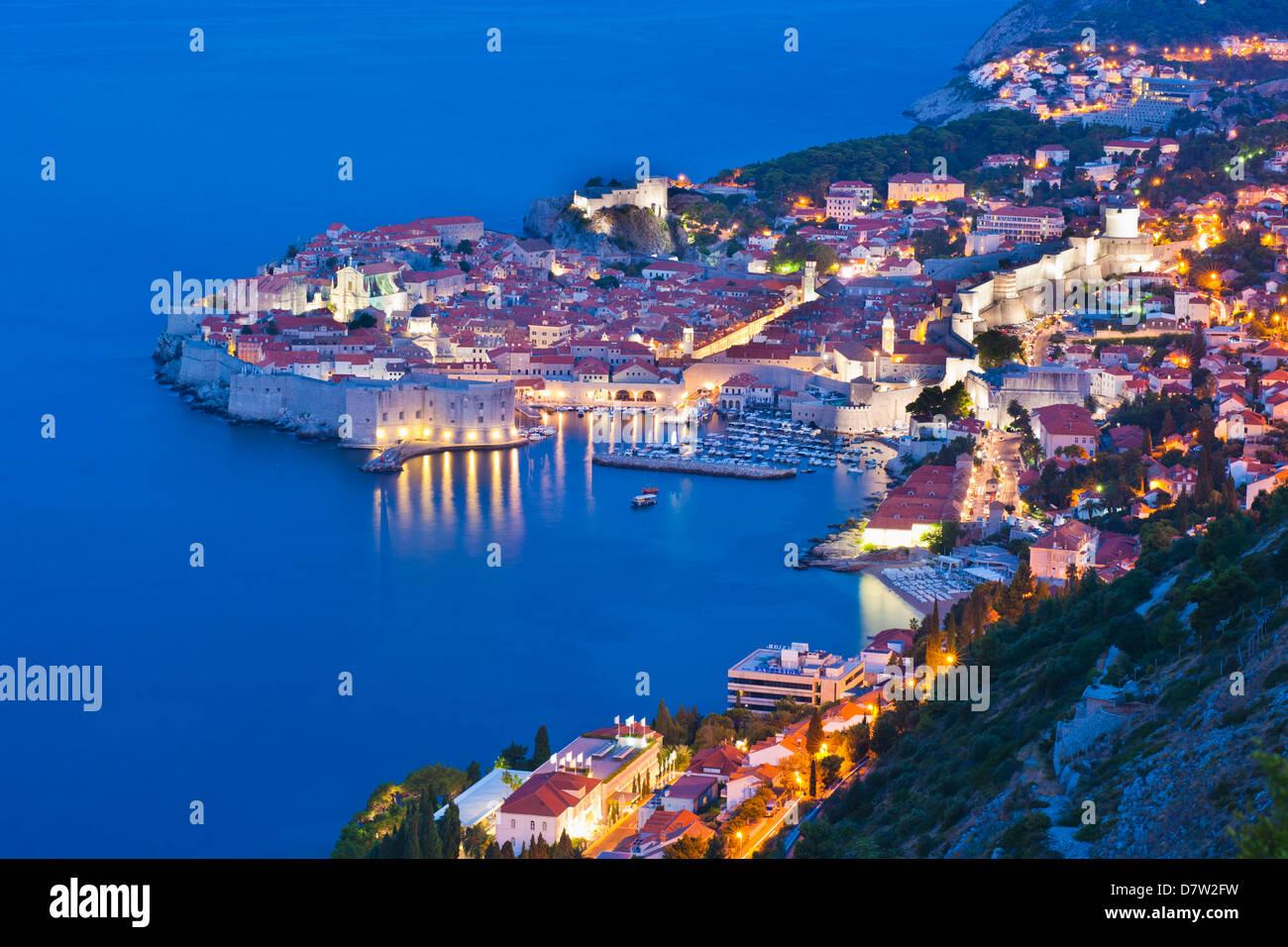 Dubrovnik Old Town at night, taken from Zarkovica Hill, Dalmatian Coast, Adriatic, Croatia - Stock Image