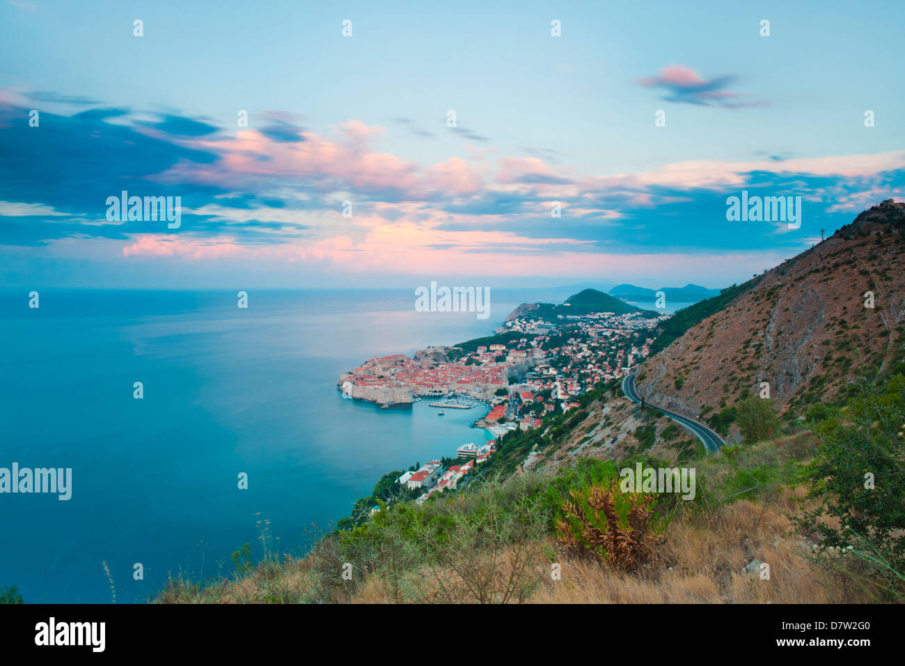 Dubrovnik Old Town and Mount Srd at sunrise, Dalmatian Coast, Adriatic, Croatia - Stock Image