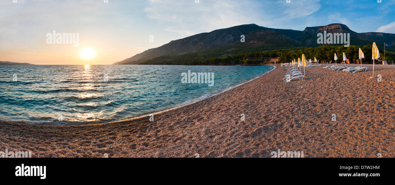 Zlatni Rat Beach at sunset, Bol, Brac Island, Dalmatian Coast, Adriatic, Croatia Stock Photo