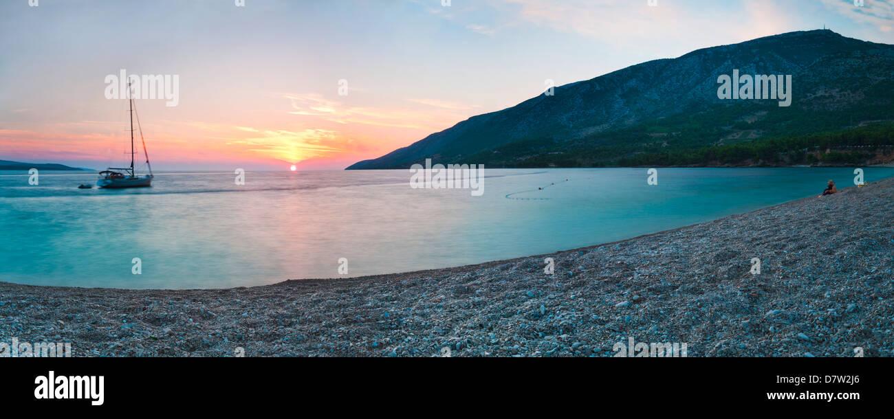 Brac Island, Zlatni Rat Beach at sunset, Bol, Dalmatian Coast, Adriatic, Croatia - Stock Image