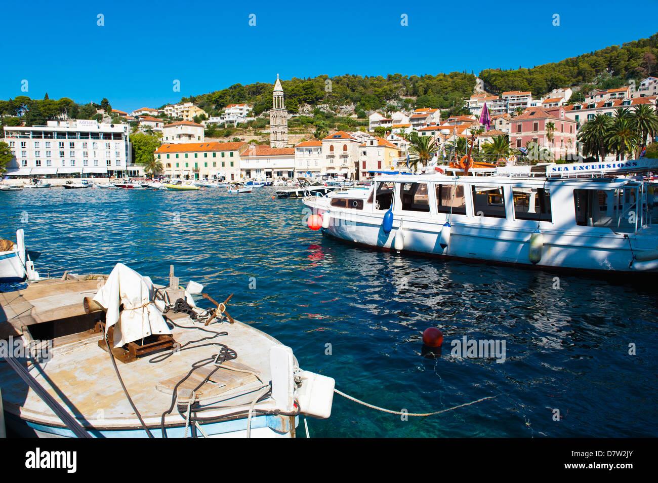 Hvar harbour, Hvar Island, Dalmatian Coast, Adriatic, Croatia - Stock Image