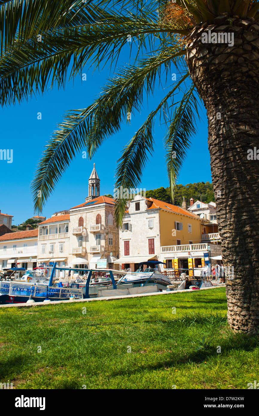 Hvar town centre, church bell tower, Hvar Island, Dalmatian Coast, Croatia - Stock Image