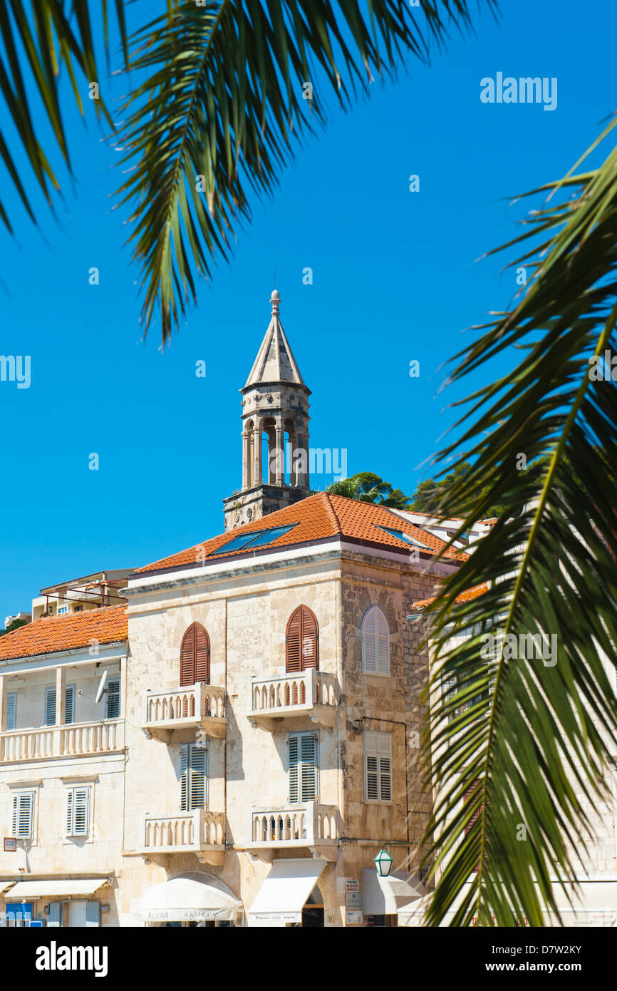 Church bell tower in Hvar town centre, Hvar Island, Dalmatian Coast, Croatia - Stock Image