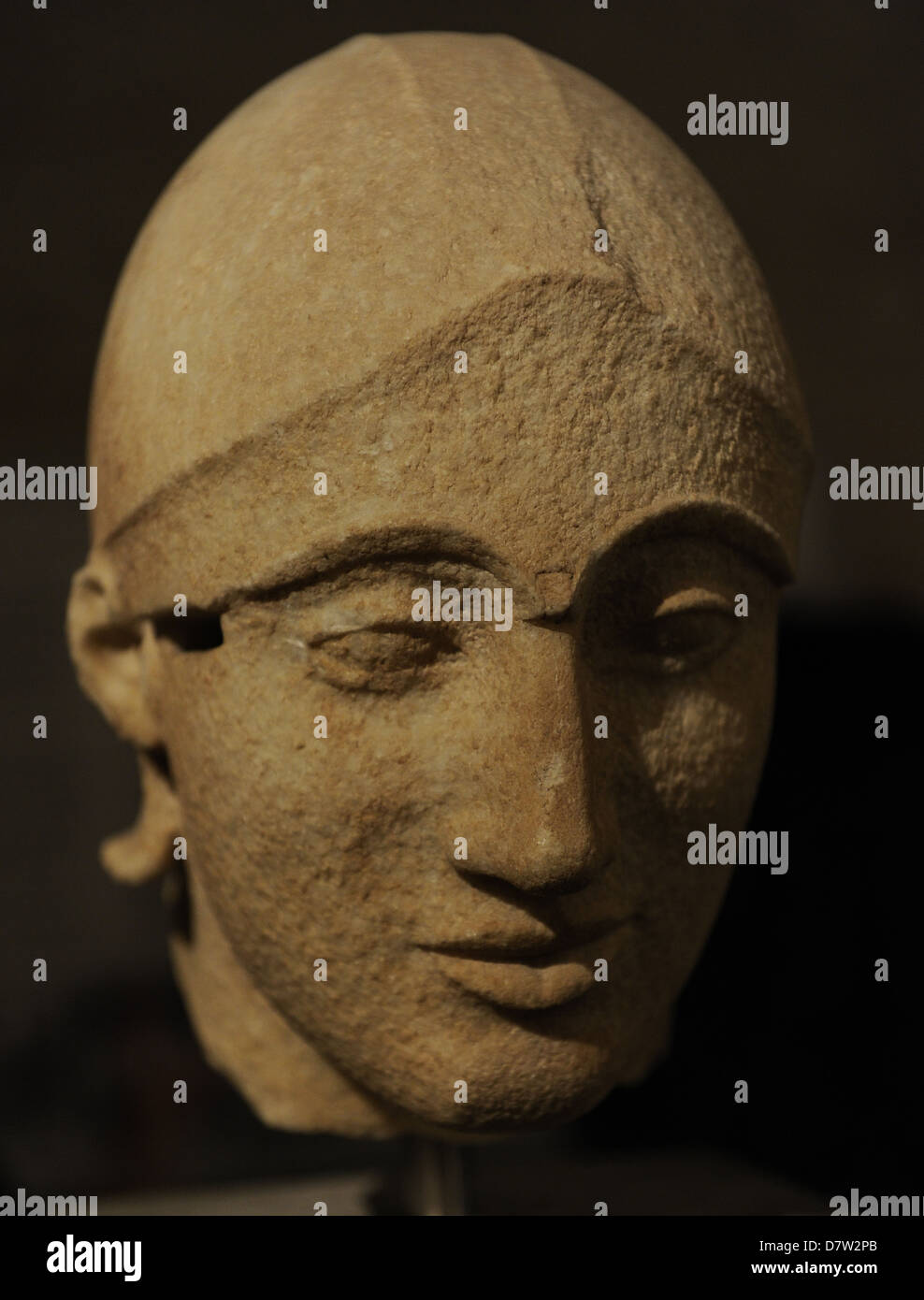 East Pediment's Group of the Temple of Aegina. Head of a trojan helper. Around 480 BC. Glyptothek Museum. Munich, - Stock Image