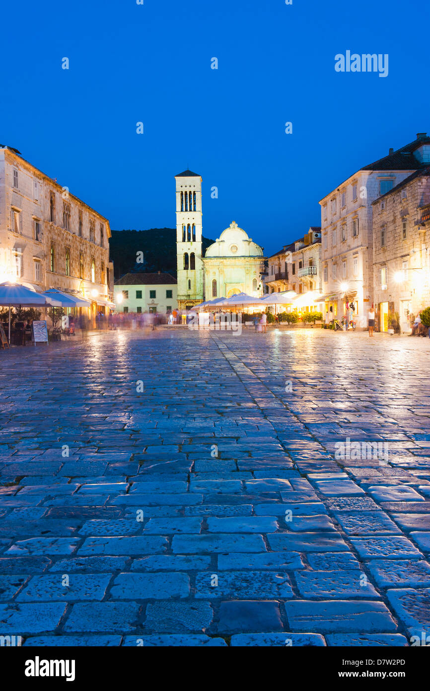 St. Stephens Cathedral in St. Stephens Square at night, Hvar Town, Hvar Island, Dalmatian Coast, Croatia - Stock Image