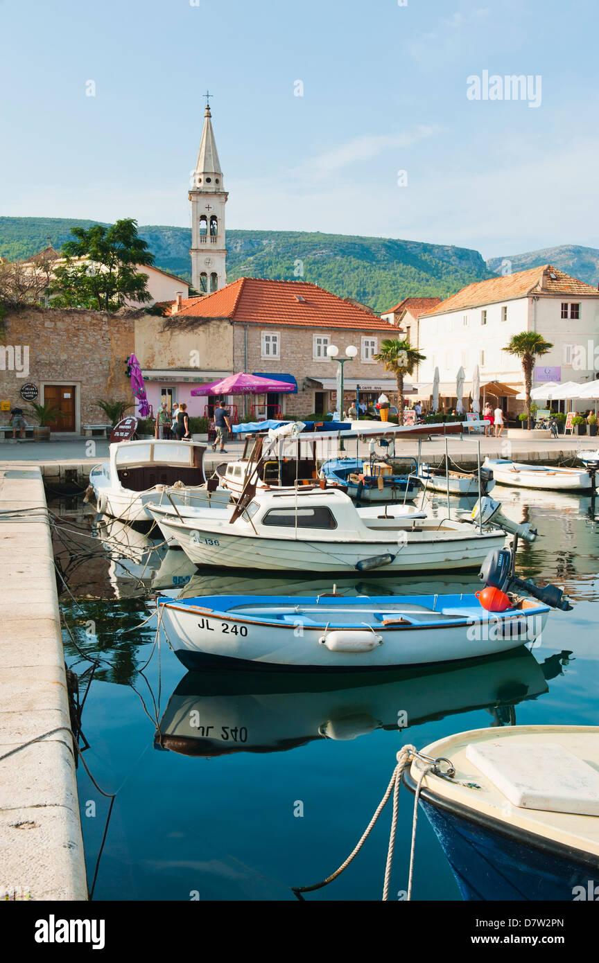 Jelsa Harbour, Hvar Island, Dalmatian Coast, Adriatic, Croatia - Stock Image