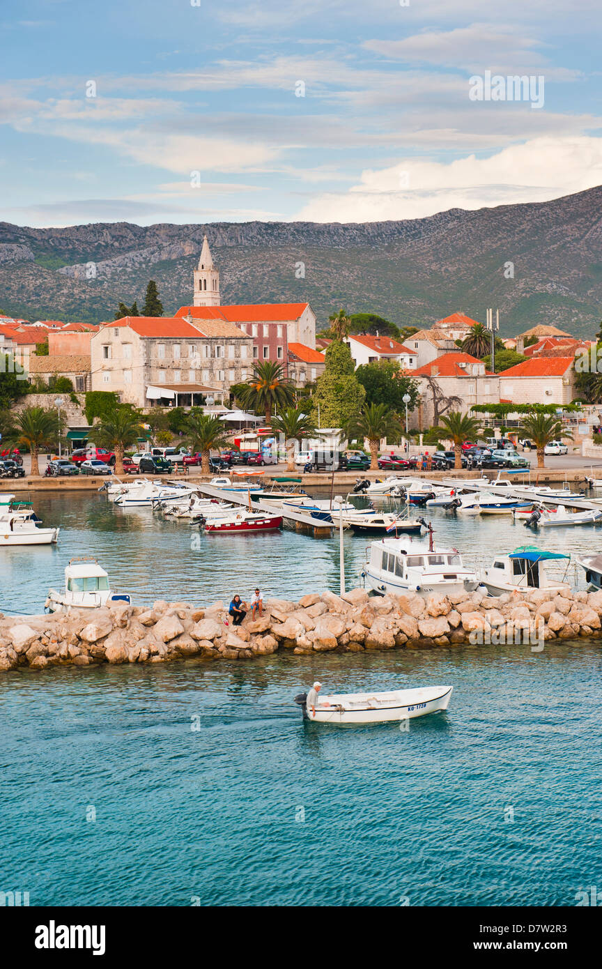 Orebic Harbour, where the ferry leaves mainland Croatia for Korcula Island, Dalmatian Coast, Adriatic, Croatia - Stock Image