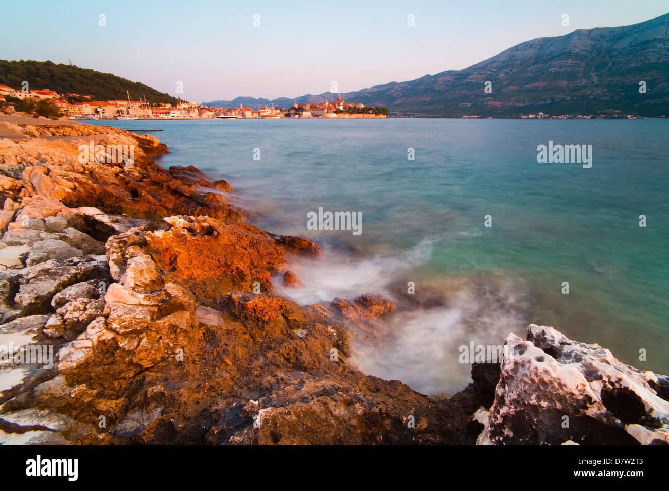 Korcula Town at sunrise, Korcula Island, Dalmatian Coast, Adriatic, Croatia - Stock Image