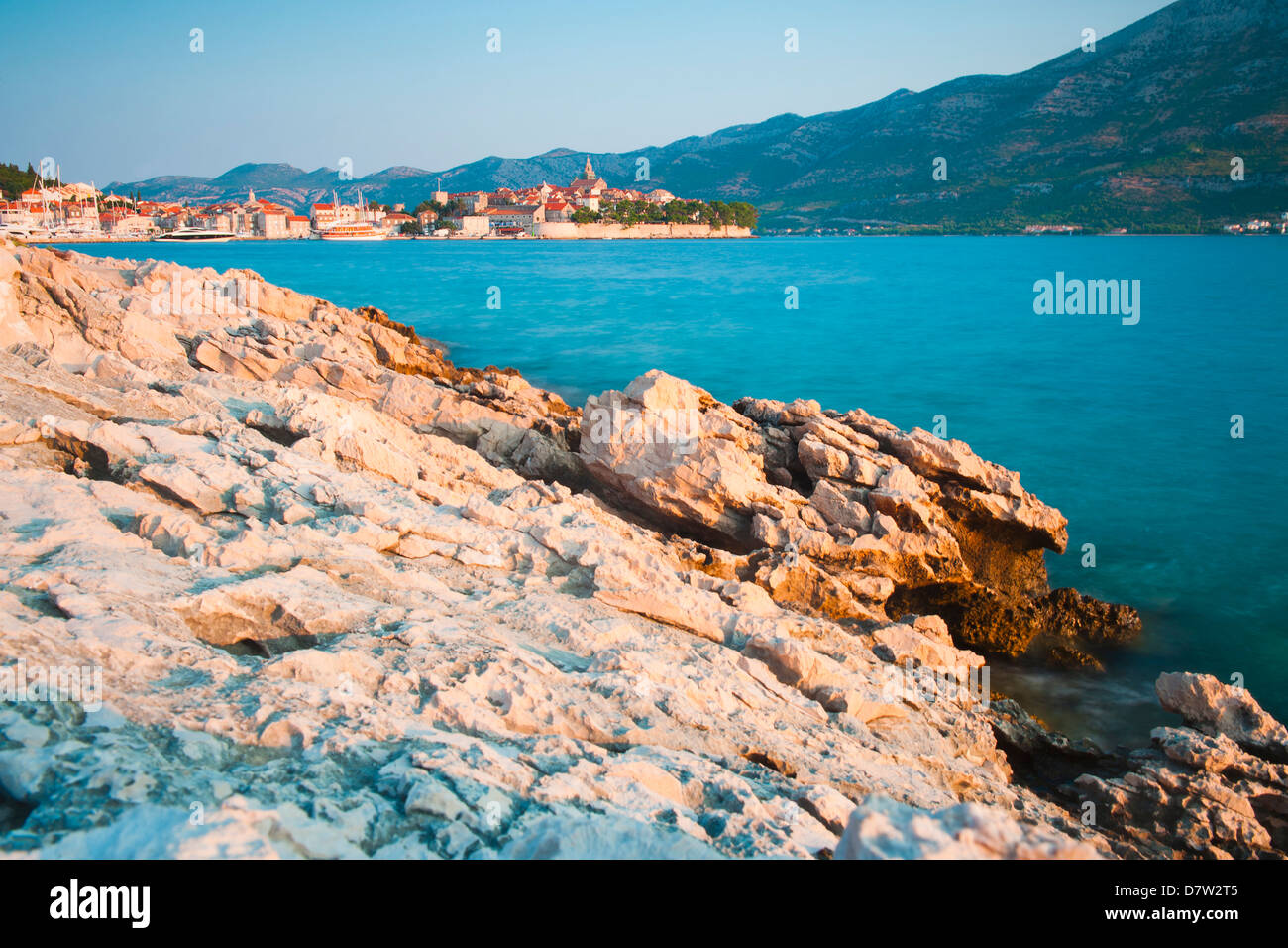 Korcula Island, Korcula Town at sunrise, Dalmatian Coast, Adriatic, Croatia - Stock Image