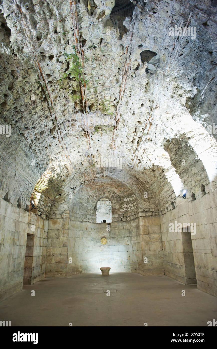 Underground halls, Diocletian's Palace, UNESCO World Heritage Site, Split, Dalmatian Coast, Croatia - Stock Image