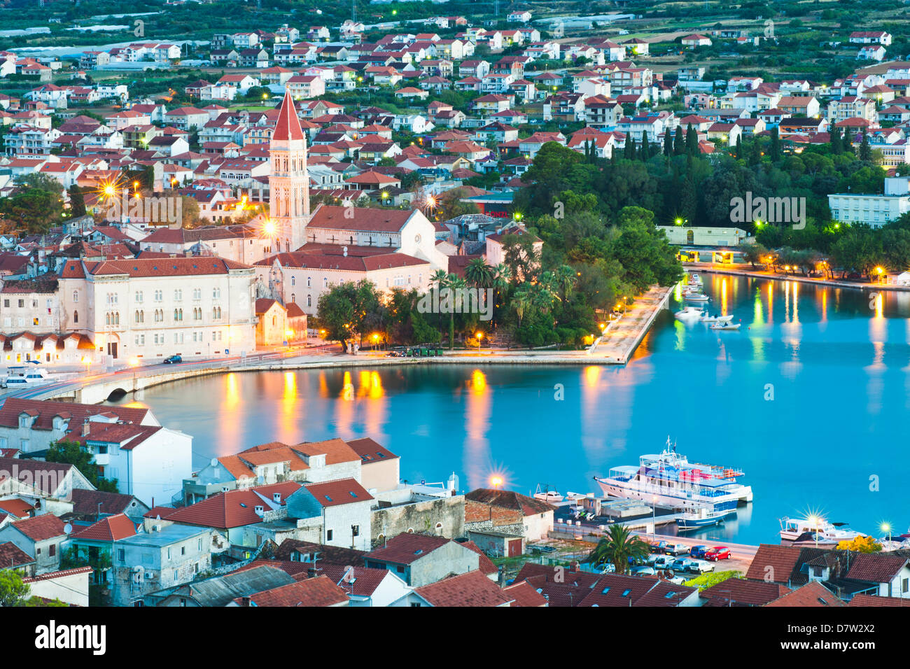 Cathedral of St. Lawrence in the evening, UNESCO World Heritage Site, Trogir, Dalmatian Coast, Adriatic, Croatia - Stock Image