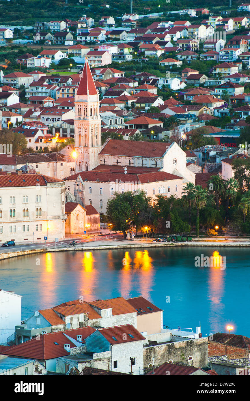 Cathedral of St. Lawrence in Trogir at night, UNESCO World Heritage Site, Dalmatian Coast, Adriatic, Croatia Stock Photo