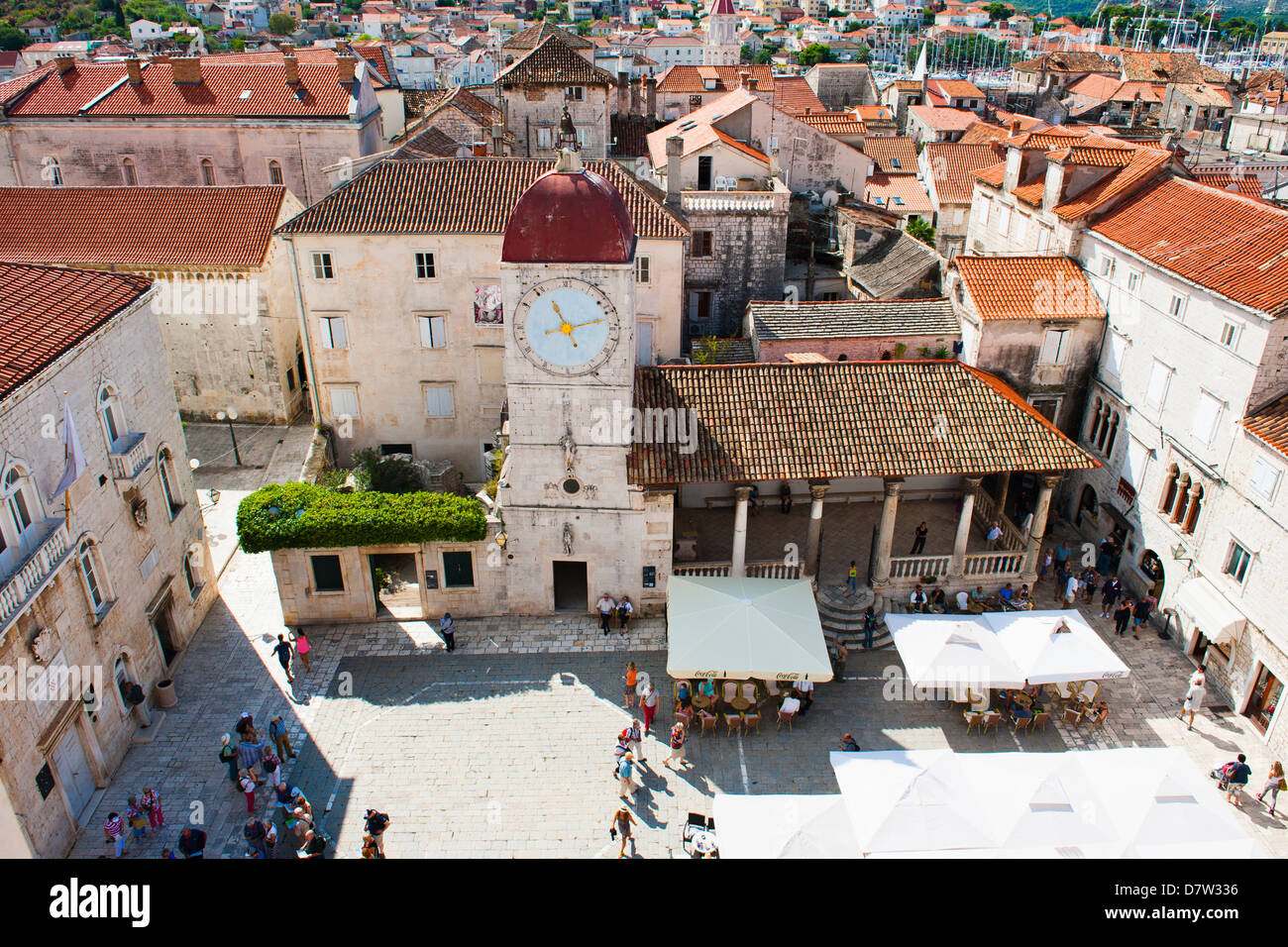 Loggia and St. Lawrence Square viewed from the Cathedral of St. Lawrence, Trogir, UNESCO World Heritage Site, Croatia - Stock Image