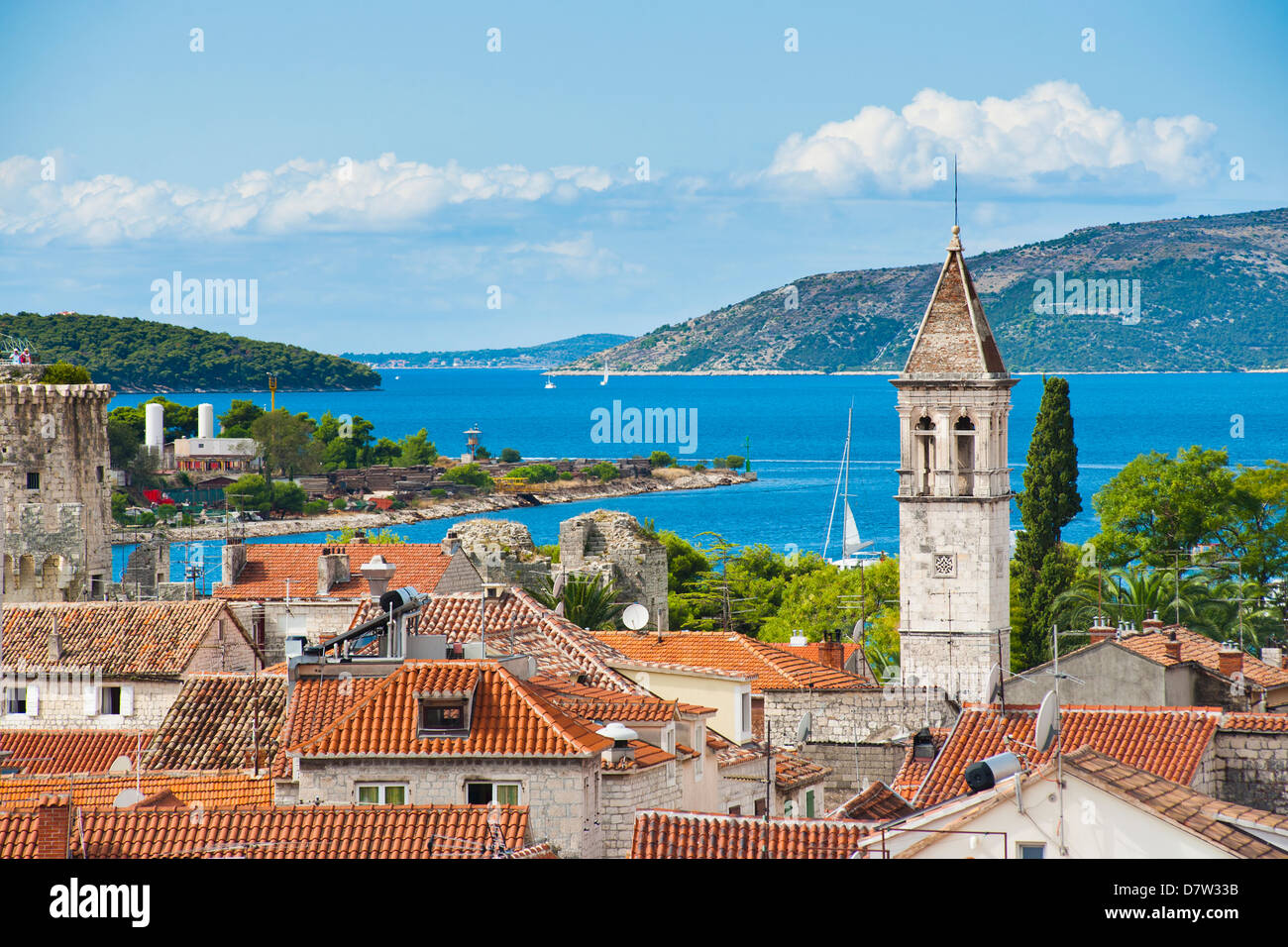 Spire of St. Michael Monastery and Church Belfry, Trogir, UNESCO World Heritage Site, Dalmatian Coast, Adriatic, - Stock Image