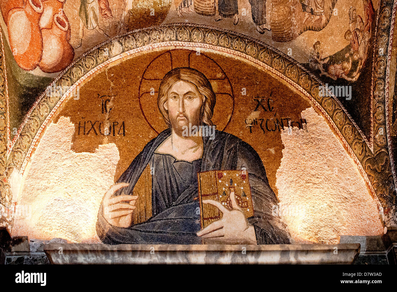 Mosaic of the Christ as The Land of the Living in the Esonarthex, Church of the Holy Saviour in Chora, Istanbul, - Stock Image