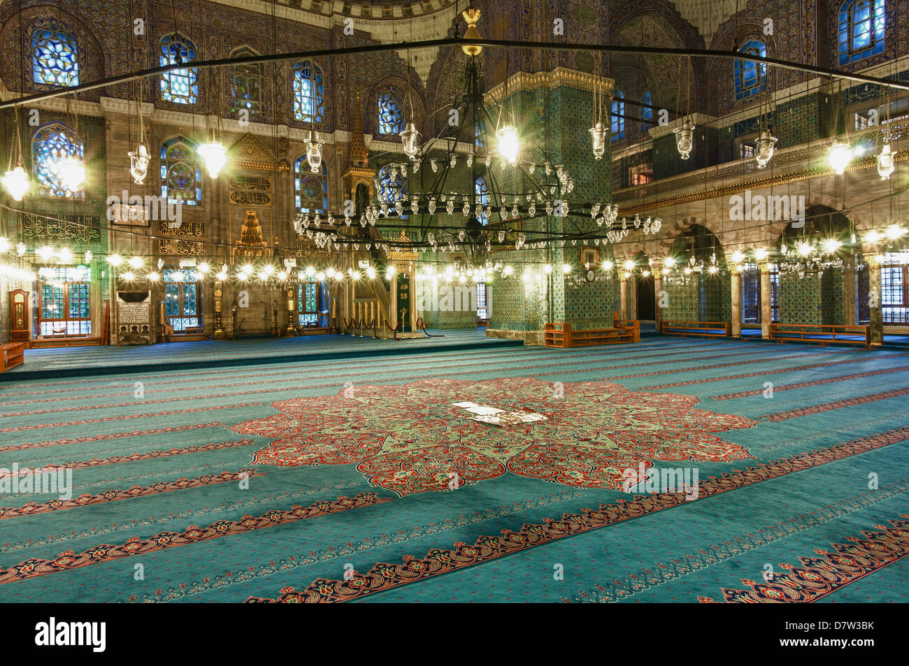 Interior of Yeni Cami (New Mosque), Istanbul Old city, Turkey - Stock Image