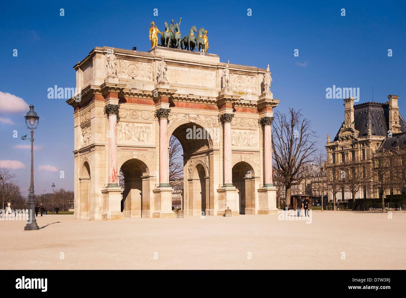 Arc du Carrousel, Place du Carrousel, Paris, France - Stock Image