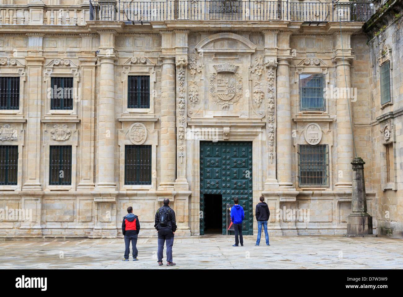 Cathedral entrance on Plaza Quintana, Santiago de Compostela, UNESCO World Heritage Site, Galicia, Spain Stock Photo