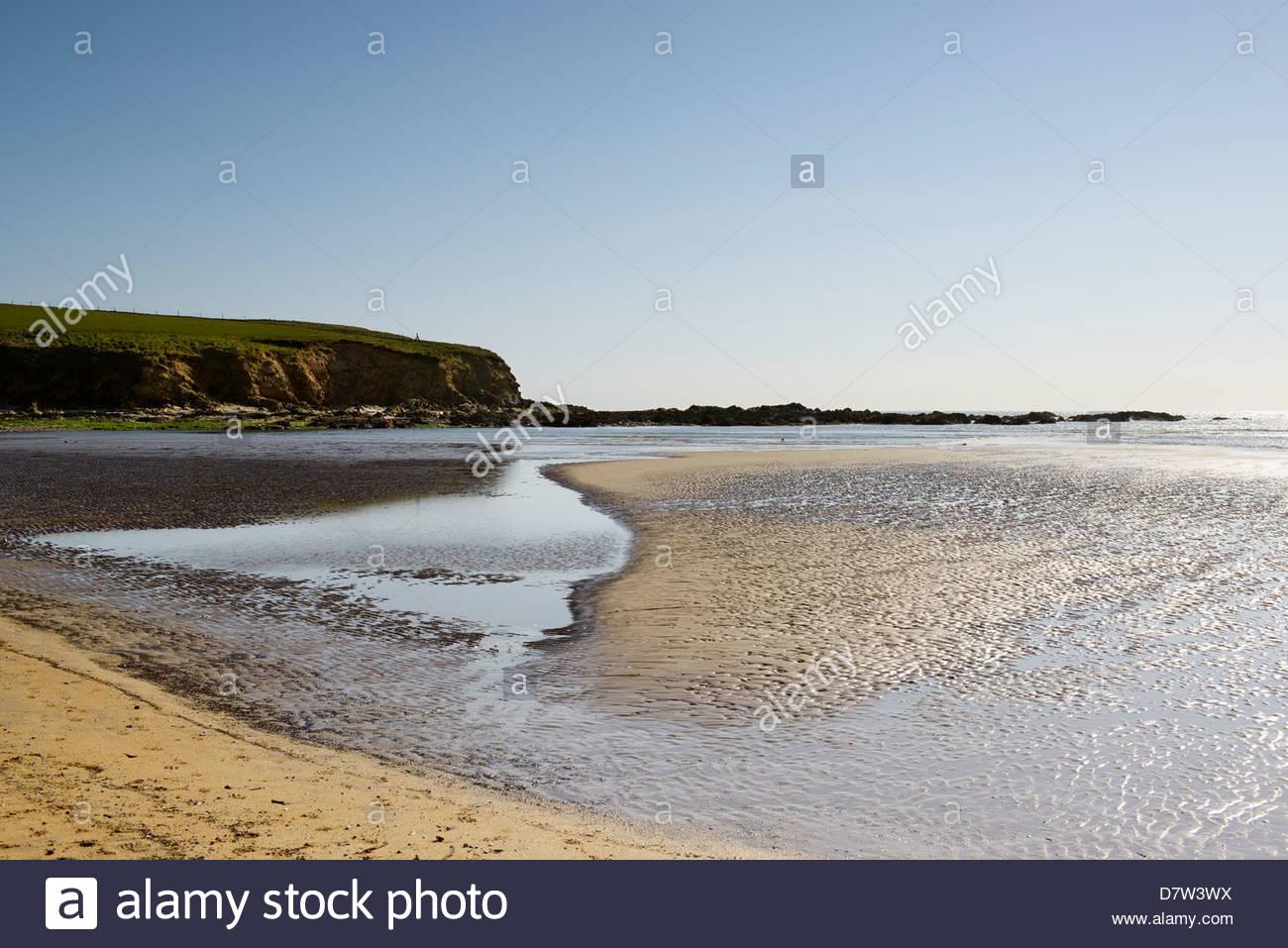 Tide out Bantham beach, Bigbury bay, Devon, England UK - Stock Image