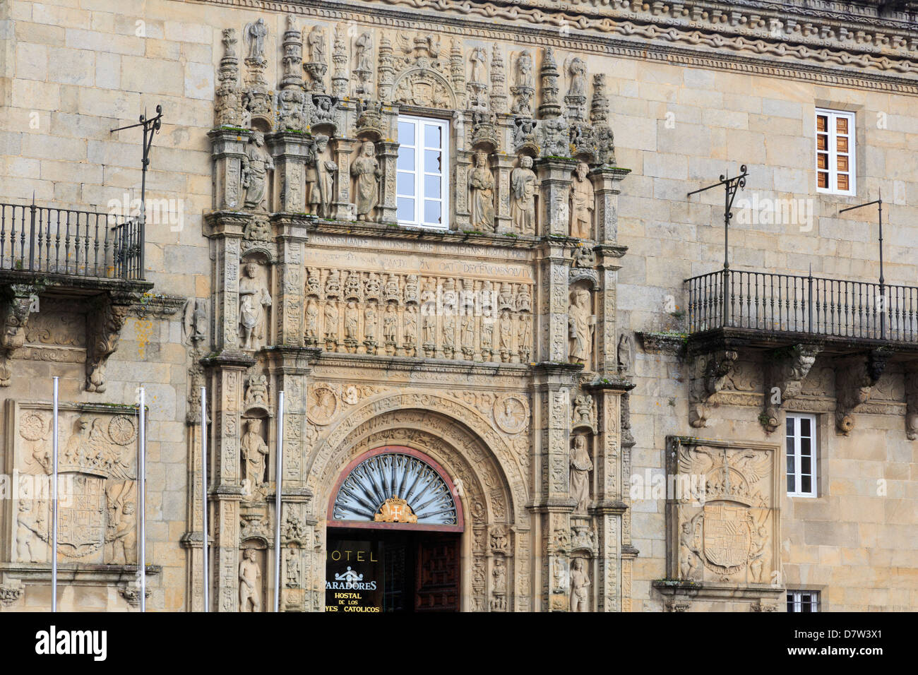 Hostal dos Reis Catolicos in Old Town, Santiago de Compostela, UNESCO World Heritage Site, Galicia, Spain - Stock Image