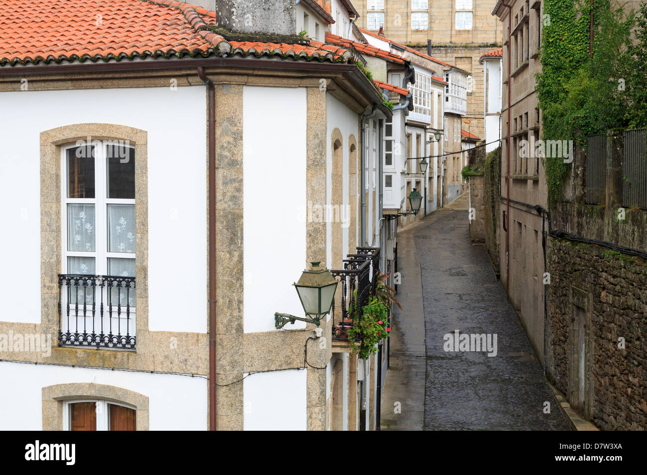 Franco Street in Old Town, Santiago de Compostela, Galicia, Spain - Stock Image