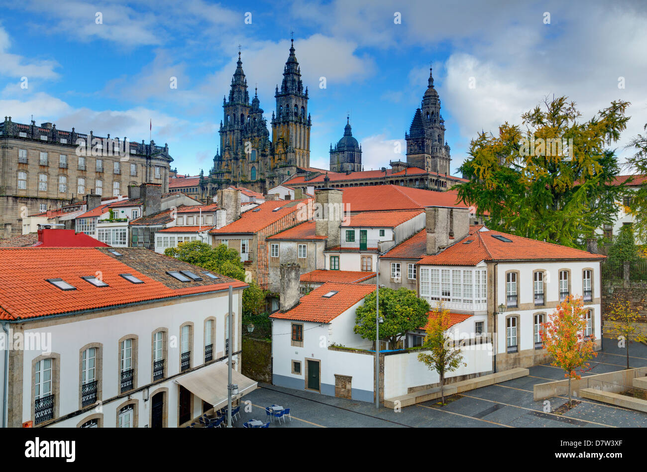 Cathedral spires in Old Town, Santiago de Compostela, UNESCO World Heritage Site, Galicia, Spain - Stock Image