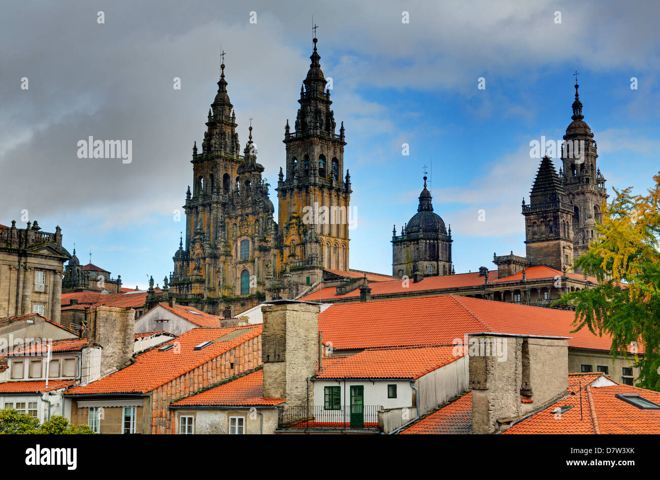 Cathedral spires in Old Town, Santiago de Compostela, UNESCO World Heritage Site, Galicia, Spain Stock Photo