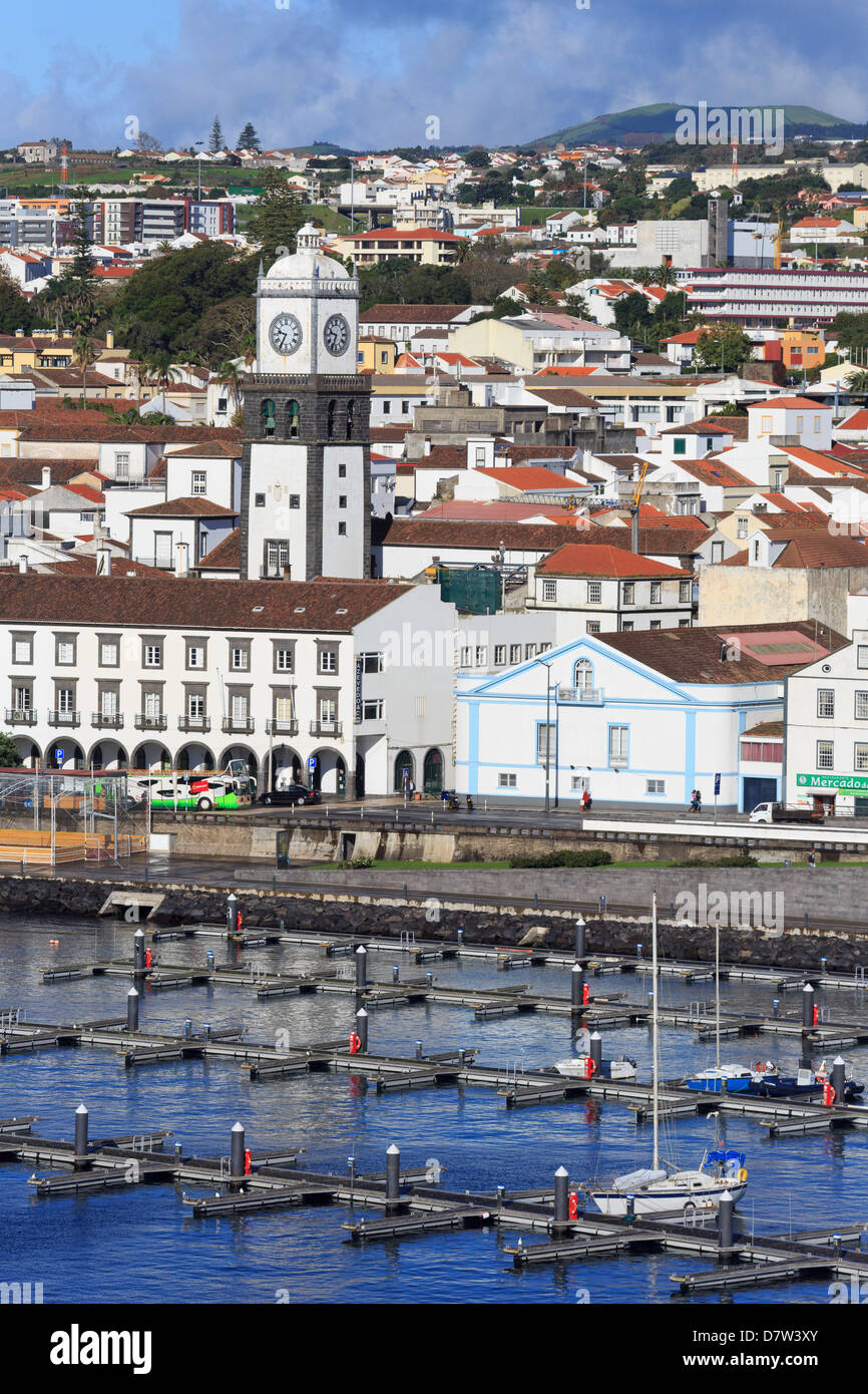 Main Church clock tower, Ponta Delgada City, Sao Miguel Island, Azores, Portugal, Atlantic - Stock Image