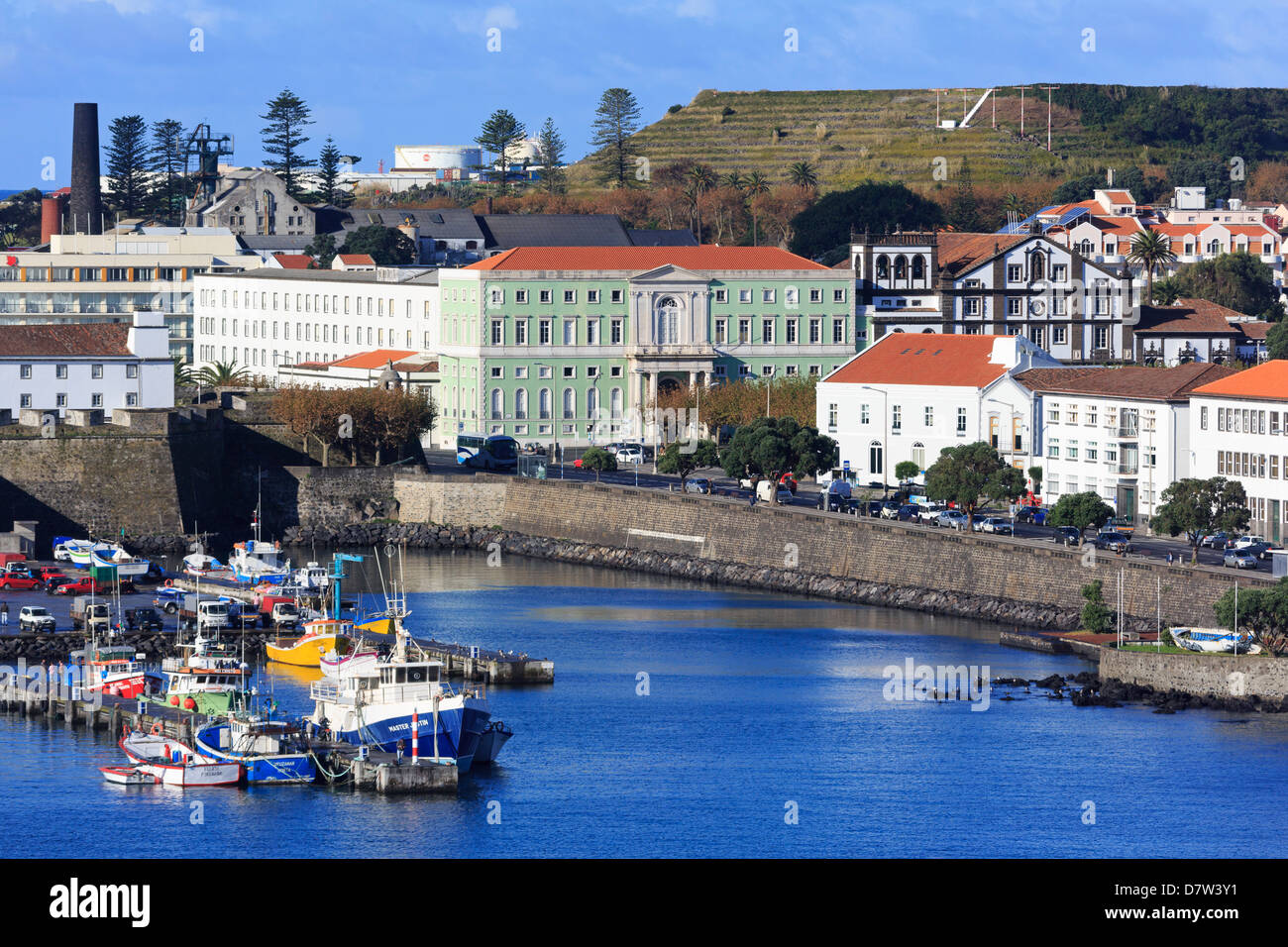 Fishing boats in harbour, Ponta Delgada City, Sao Miguel Island, Azores, Portugal, Atlantic - Stock Image