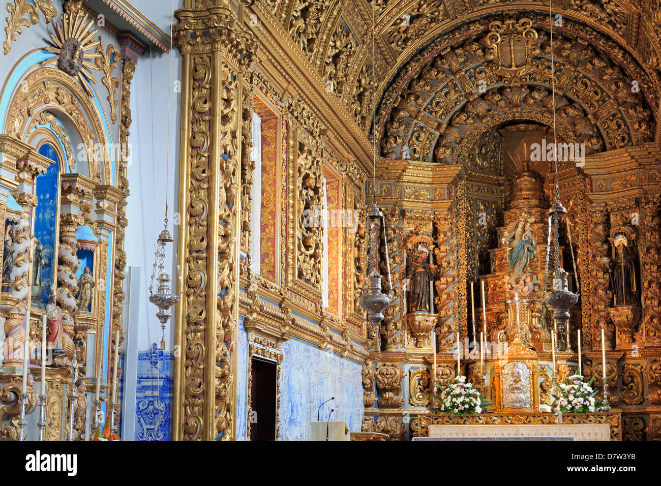 Santo Cristo Church in the Convento da Esperanca, Ponta Delgada City, Sao Miguel Island, Azores, Portugal - Stock Image