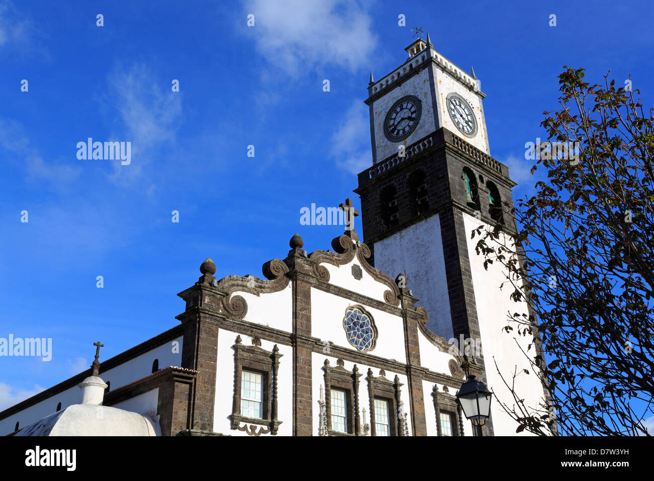 Main Church clock tower, Ponta Delgada City, Sao Miguel Island, Azores, Portugal - Stock Image