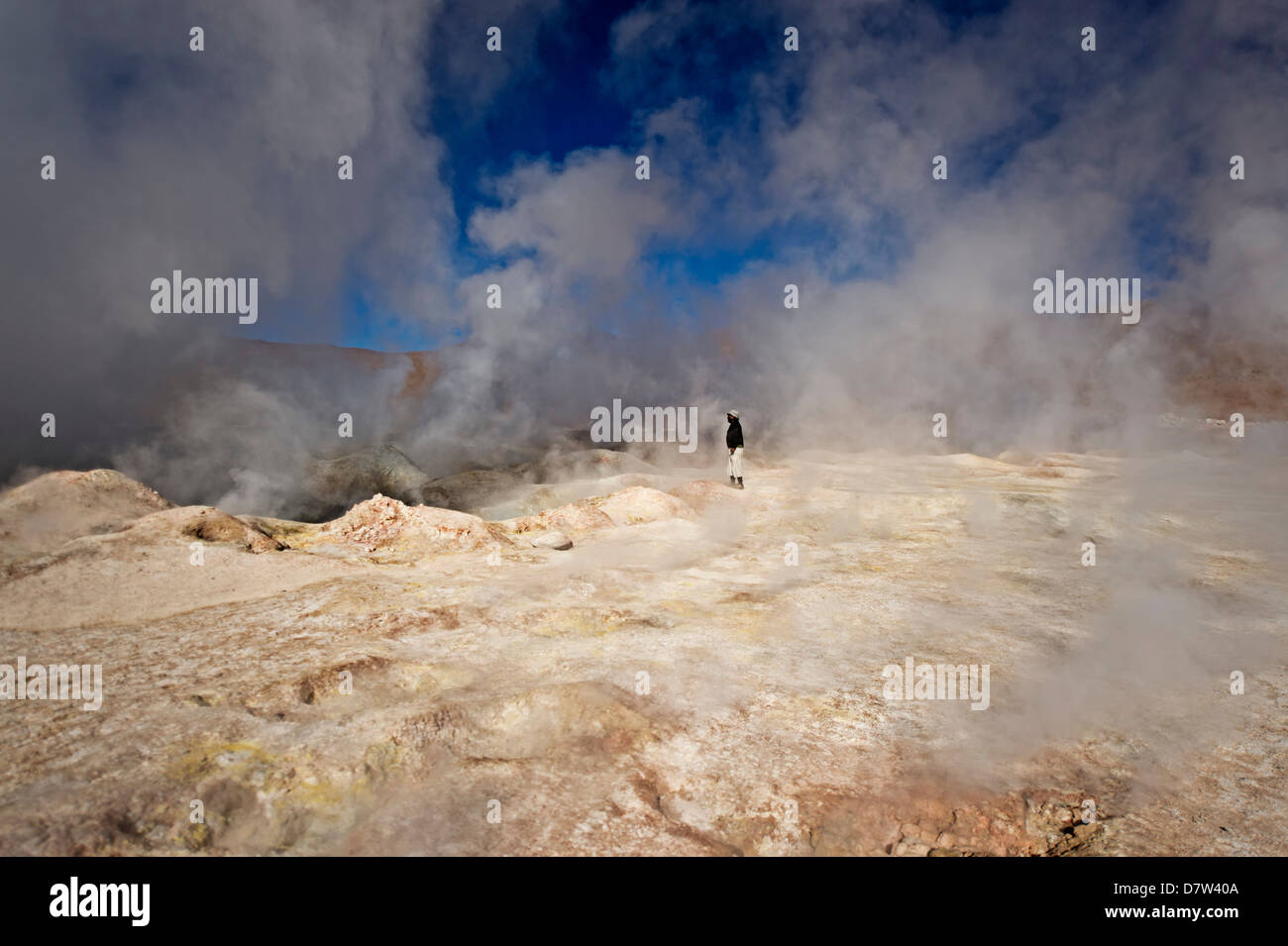 The Sol de Manana geysers, a geothermal field at a height of 5000 metres, Bolivia, South America - Stock Image